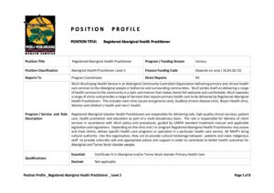 Position Profile Registered Aboriginal Health Practitioner Level 2
